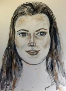 graphite watercolor woman